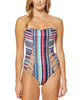 Jessica Simpson Mixed-Stripe Cutout One-Piece Swimsuit (Navy Multi, Large)