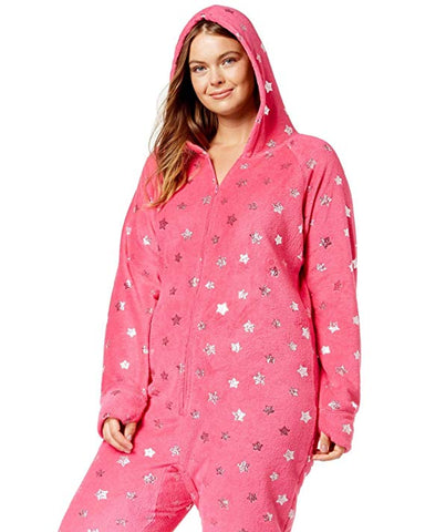 Jenni by Jennifer Moore Hooded Footed Printed Pajama Jumpsuit