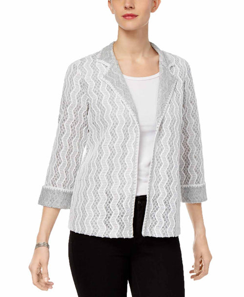 Alfred Dunner Womens Eskimo Kiss Textured Blazer Jacket (Grey, 14)