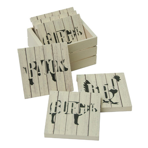 Sunbelt Gifts 6 Pack Farmhouse Wood Pallet Coasters in Crate-Cow, Pig, Chicken