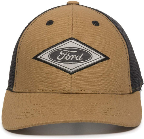 Outdoor Cap Mens Structured Canvas Ford Cap (Brown/Black, One Size)