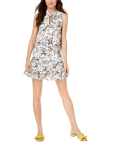 Maison Jules Womens Sleeveless Floral Printed Tie-Neck Dress