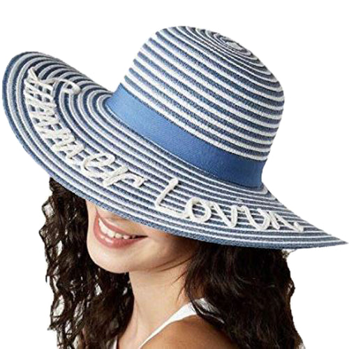 August Hat Co. Womens Summer Lovin' Floppy Hat (Blue/White, One Size)
