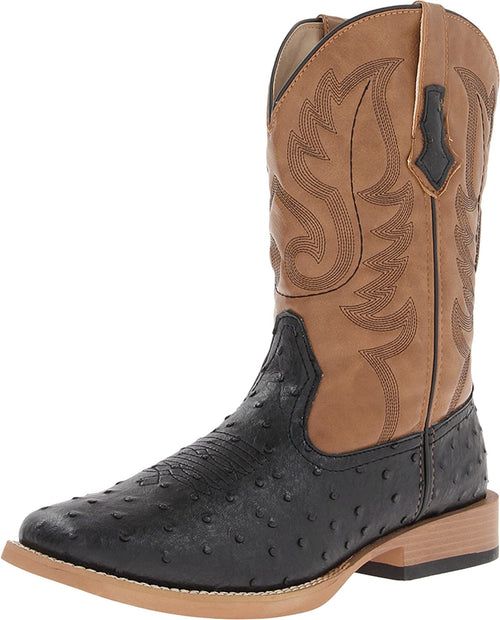 Roper Mens Faux Leather Ostrich Print Square Toe Western Boot