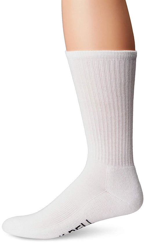 K. Bell Socks Men's Cool Max Basic Sport Crew Socks (White, 10-13)