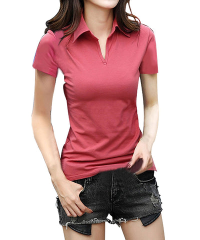Face N FaceWomen's Cotton Short Sleeve V Neck Polo (Red, Medium)