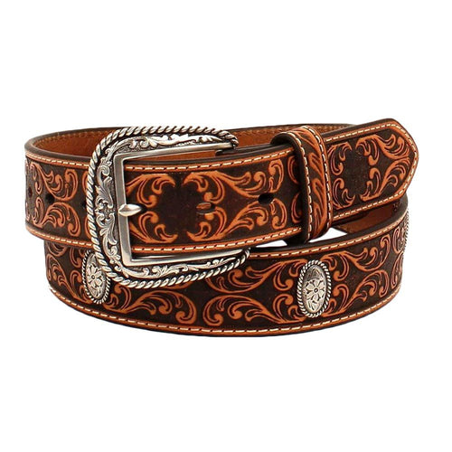 Ariat Mens Scroll Embossed Leather with Oval Conchos Western Belt (Tan, 32)