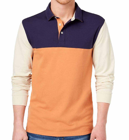 Club Room Mens Colorblocked Long Sleeve Polo