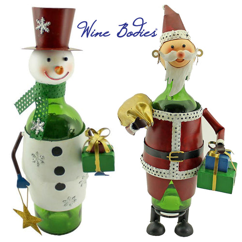 Holiday Themed Recycled Metal Wine Bottle Holders