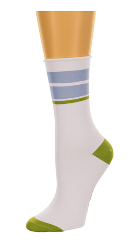 K. Bell Collection Womens Soft & Comfortable Striped Roll Top Crew Socks