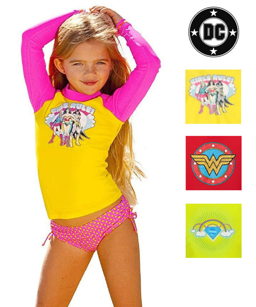DC Comics Girls Long Sleeve Swim Rash Guard-Supergirl, Wonder Woman, Batgirl