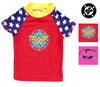 DC Comics Girls Short Sleeve Swim Rash Guard-Supergirl, Wonder Woman, Batgirl