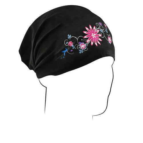 ZAN Headgear Womens Comfort Elastic Back Head Wrap Garden Black One Size