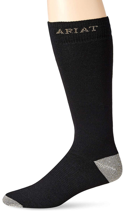 Ariat Mens Heavy Duty Sport Socks, 1 Pair (Black, Large (10-13))