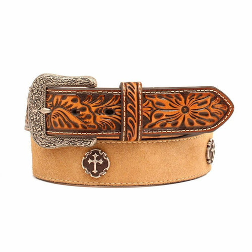 Ariat Mens Leather Cross Concho Embossed Leather Western Belt
