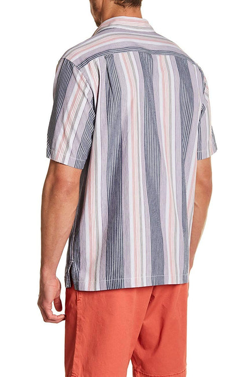 Tommy Bahama Mens Narcia Stripe Short Sleeve Silk Blend Shirt (Jet Black,Medium)