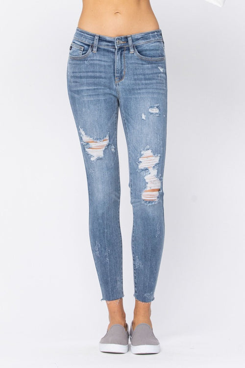 Judy Blue Womens Mid Rise Distressed Skinny Jeans with Raw Hems
