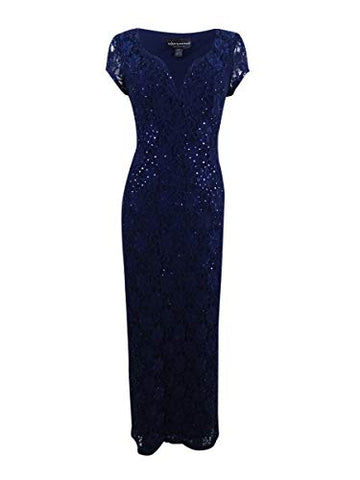 Connected Women's Sequined Lace Column Gown (6, Navy)