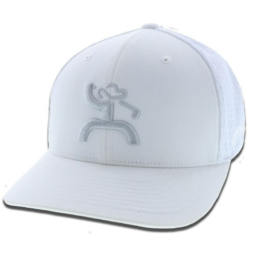 Hooey Unisex Golf Embroidered Flexfit Fitted Baseball Cap Hat (White, L/XL)