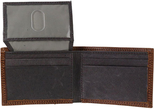 Hooey Mens Roughy Leather Bifold Flip Wallet (Brown / Sunset Stripes)