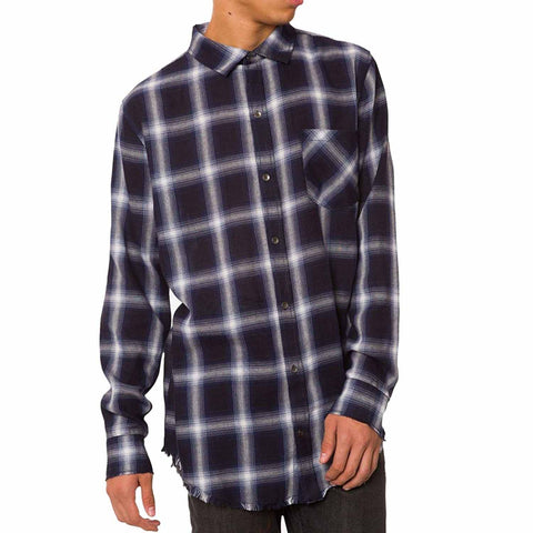 Jaywalker Men's Curved-Hem Plaid Button-Down Shirt (Navy/White, Medium)