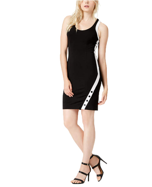 Bar III Women's Sleeveless Snap Bodycon Dress