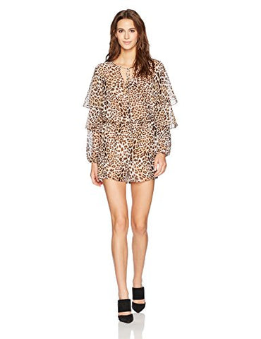 GUESS Women's Long Sleeve Pixie Ruffled Romper (Leopard Camo, Large)