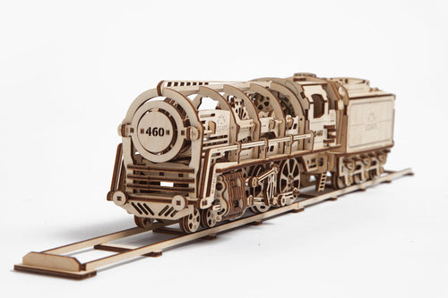 UGears Plywood Locomotive & Tender Collectible Mechanical Model