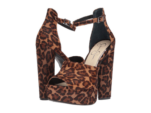 Jessica Simpson Womens Elin2 Leopard Calf Hair Platform Sandals