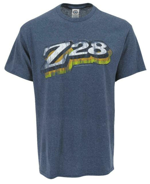 Joe Blow Mens Retro Z28 Graphic Logo Cotton Polyester Tee Shirt, Heather Denim