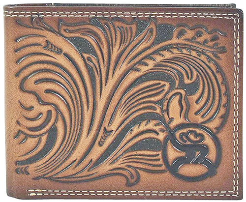 Hooey Mens Roughy Scalloped Floral Tooled Leather B-Fold Wallet, Brown