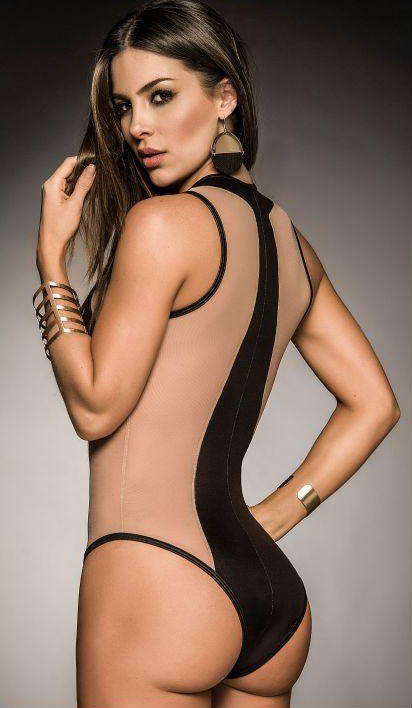 Mapale Womens Wet Look Lingerie Bodysuit with Sheer Mesh Panel