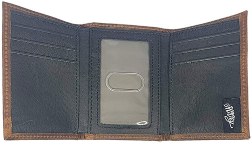 Hooey Mens Weathered Leather Roughy Logo Boot-stitch Tri-fold Wallet, Brown