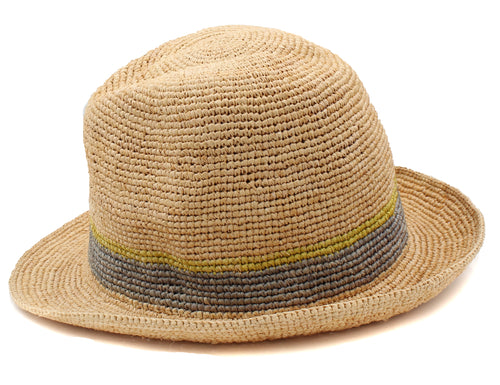Tommy Bahama Womens Florabella Mazey Raffia Fedora Hat (Natural/Smoke, One Size)