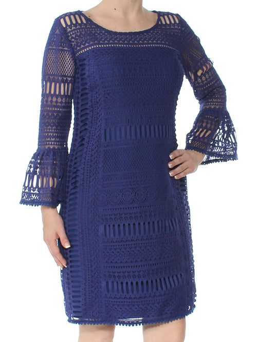 Alfani Womens Petite Crochet Bell-Sleeve Shift Cocktail Dress (Blue, 2P)