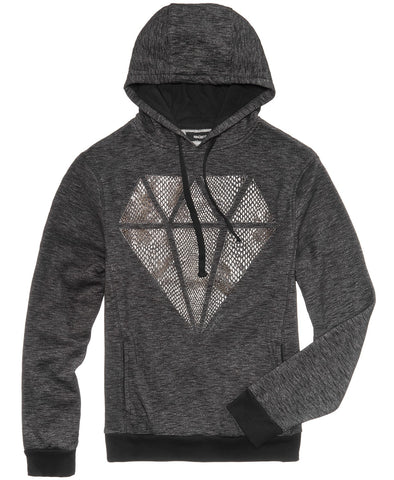 Ring of Fire Men's Snake Diamond Hoodie (Black, Large)