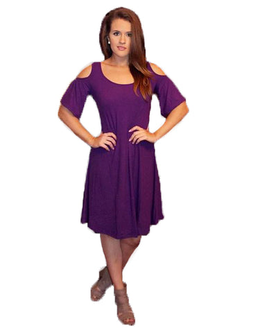 Heathmoor Womens Short Sleeve Cold Shoulder Dress