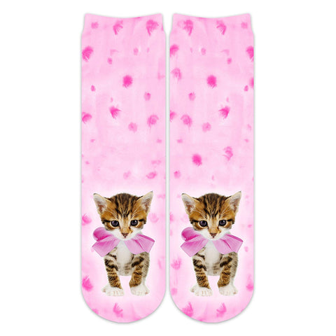Sublime Designs Adult Fun Printed Crew Socks-Kitten