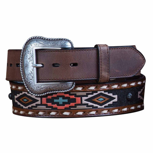 Roper Mens Tribal Inspired Hand Painted Leather Belt