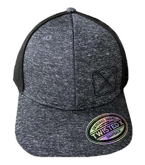 Twisted X Mens Adjustable Snapback Mesh Cap Hat (Heather Grey/Black)