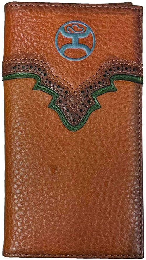 Hooey Mens Pebbled Leather Signature Logo Rodeo Wallet (Russet / Green)