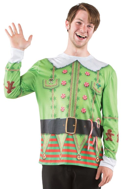 Faux Real Mens Christmas Elf Long Sleeve Shirt