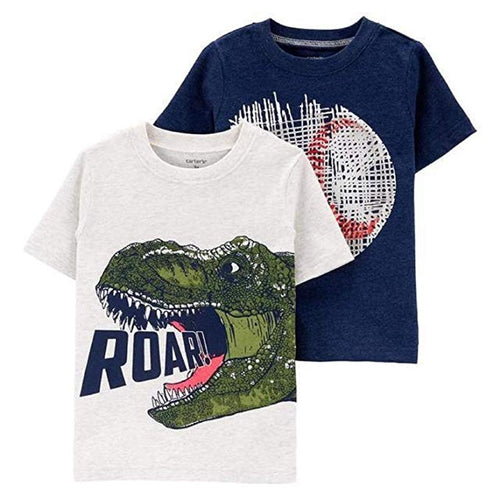 Carter's Boys 2 Piece Short Sleeve T-Shirt Set , Roar/Ball