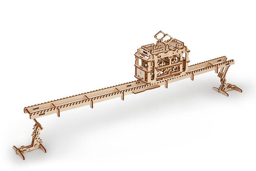 UGears Plywood Tram on Rails Collectible Mechanical Model