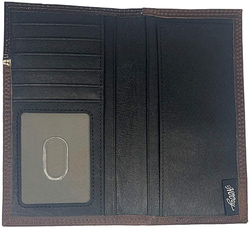 Hooey Mens Roughy Logo Tooled Yoke Leather Rodeo Checkbook Wallet (Brown)
