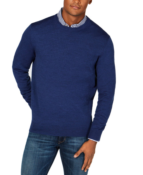 Club Room Men's Raglan-Sleeve Merino Wool Sweater (Navy Blue, XX-Large)