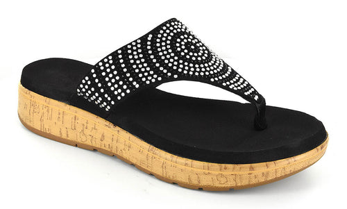 Corkys Womens Rowley Rhinestone Sandals, Cork Wedge