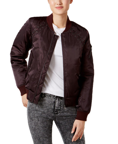Madden Girl Juniors' Lace-Up Bomber Jacket