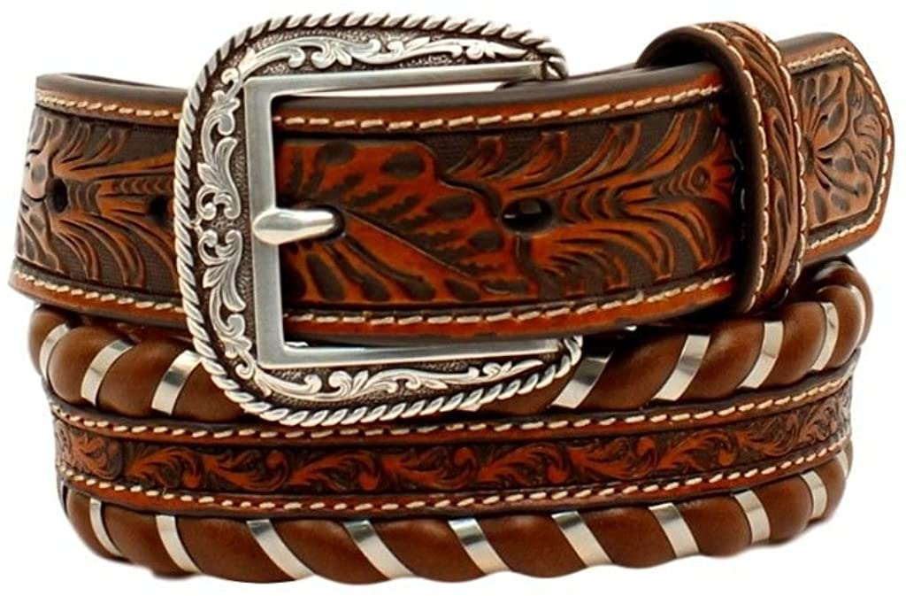 Men/'s Ariat Floral Embossed with Turqouise Lacing Belt with Buckle