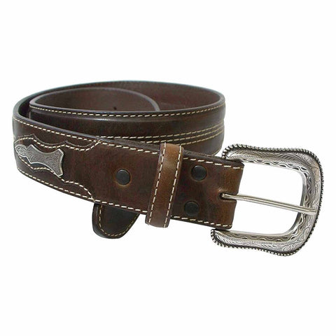 Roper Mens Silver Concho Top Grain Leather Belt